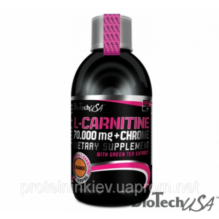 Карнитин BioTech - L-Carnitine 70.000 mg + Chrome (500 мл) апельсин