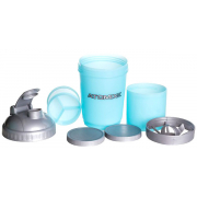 Шейкер Atomix - Smart Shake +2 контейнера (600 мл) [голубой с серой крышкой]