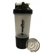 Шейкер Ironflex - Black +1 контейнер с шариком (500 мл) [transparent with black lid/прозрачный с черной крышкой]
