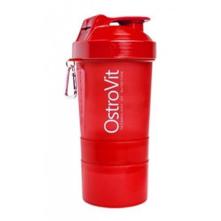 Шейкер Ostrovit Neon 400 мл + 2 контейнера красный/red