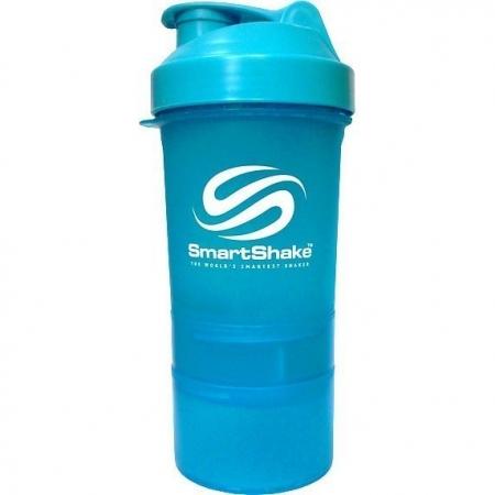 Шейкер SmartShake Neon 400 мл + 2 контейнера голубой/blue