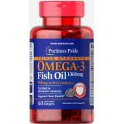 Омега Puritan's Pride - Omega 3 Fish Oil 1360 мг Triple Strength (60 капсул)