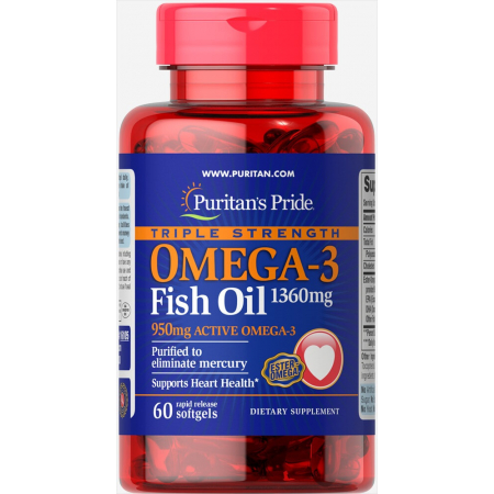 Омега Puritan's Pride - Omega 3 Fish Oil 1360 мг Triple Strength (60 капсул)