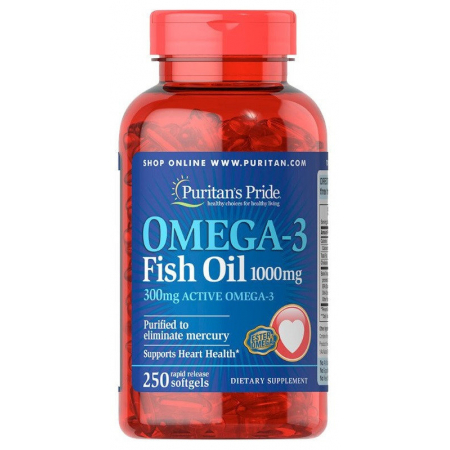 Омега Puritan`s Pride - Omega 3 Fish Oil 1000 мг (100 капсул)