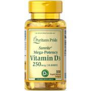 Витамины Puritan's Pride - Vitamin D3 250 мкг (10000 IU) (100 капсул)