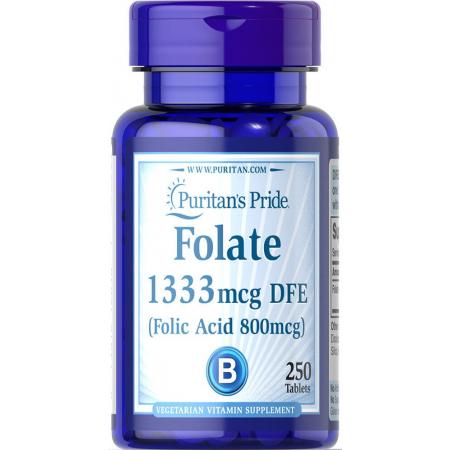 Витамины Puritan's Pride - Folate 1333 мкг DFE (250 таблеток)