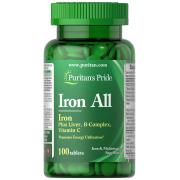 Витаминный комплекс Puritan's Pride - Iron All (100 таблеток)