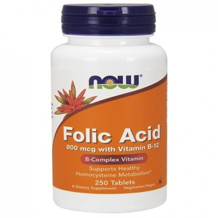 Фолиевая кислота Now Foods - Folic Acid 800 мкг + B12 (250 таблеток)