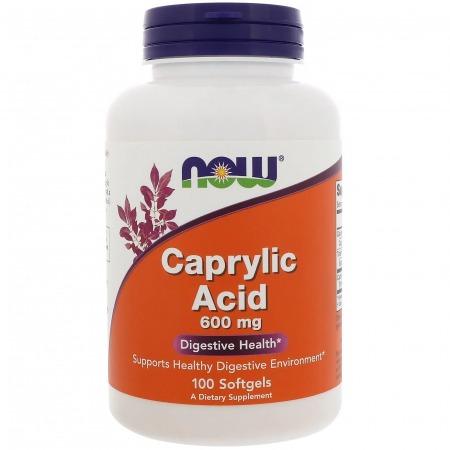 Каприловая кислота Now Foods - Caprylic Acid 600 мг (100 капсул)