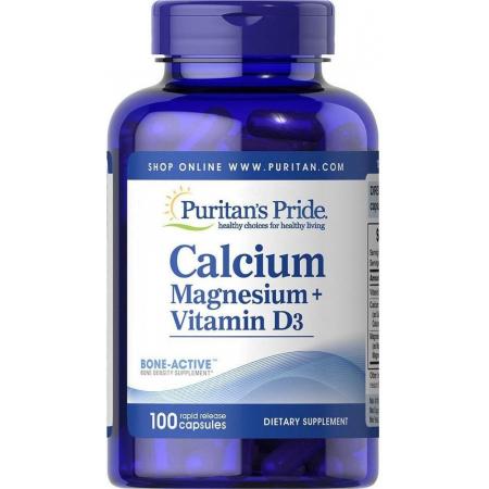 Минеральный комплекс Puritan's Pride - Calcium Magnesium + Vitamin D3 (100 капсул)