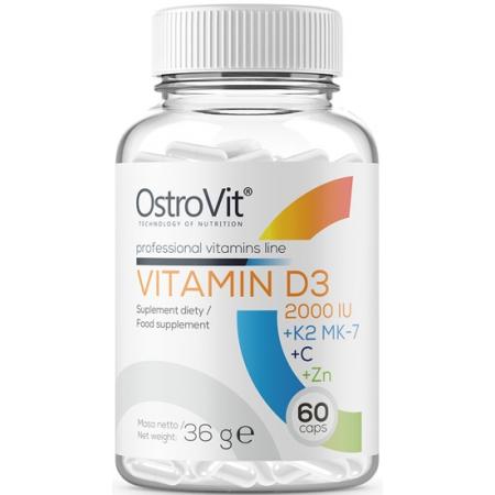 Комплекс витаминов OstroVit - Vitamin D3 2000 IU + K2 MK-7 + C + Zn (60 капсул)