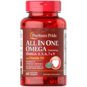 Омега Puritan's Pride - All In One Omega 3,5,6,7 & 9 with Vitamin D3 (60 капсул)